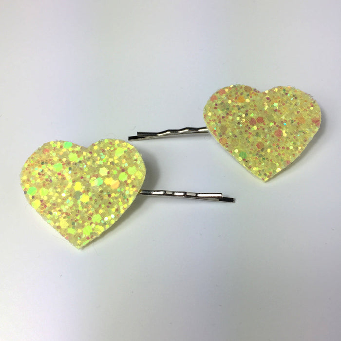 lemon glitter heart hair grips