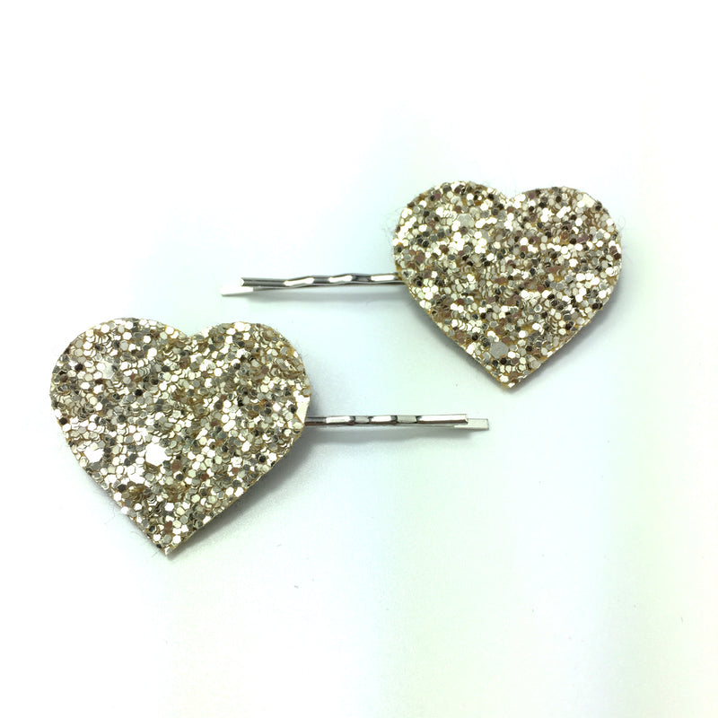 gold glitter heart hair clips