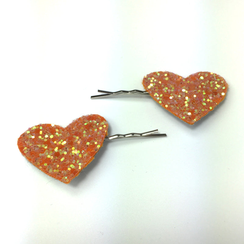 peach glitter heart hair grips