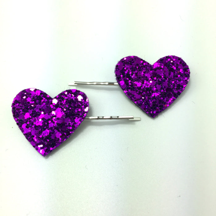 purple glitter heart hair clips