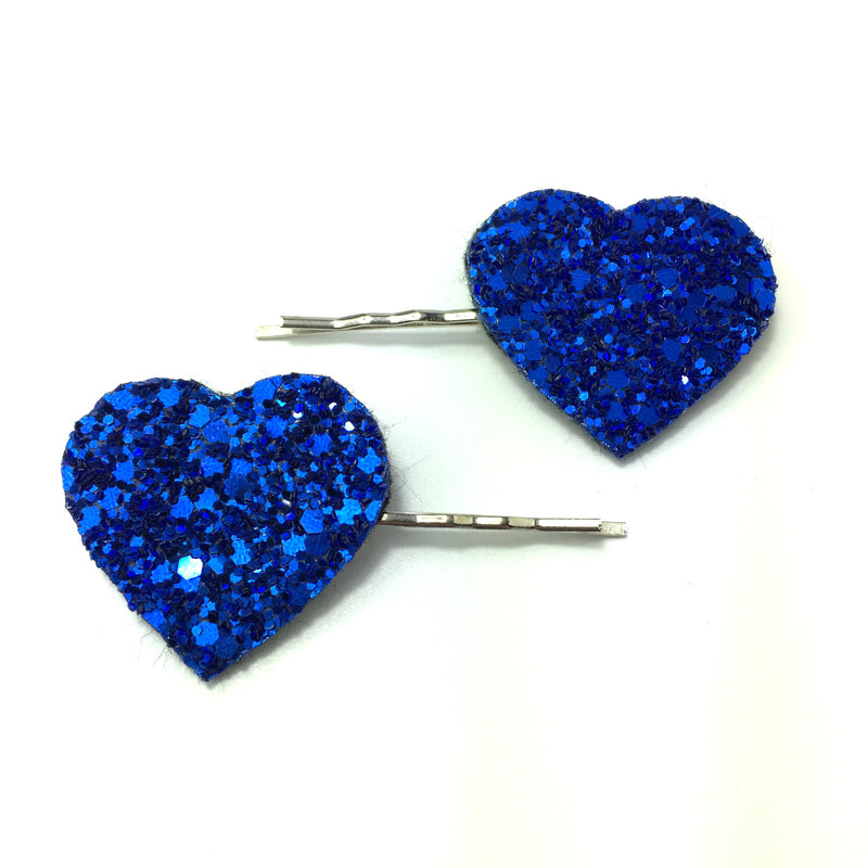blue glitter heart hair clips