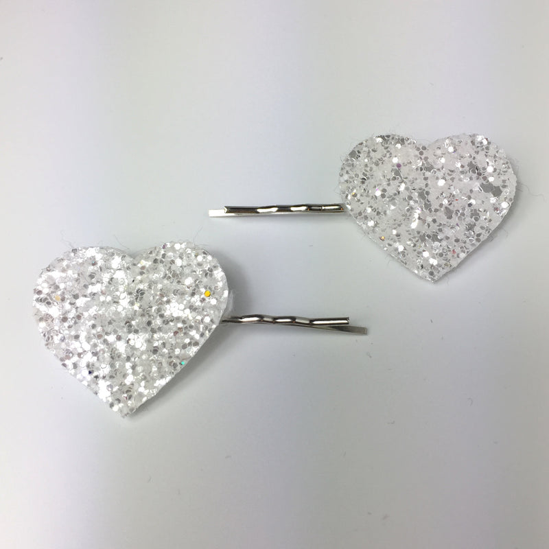 Glitter Heart Hair Grips - many colours
