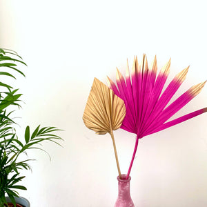 fuchsia pink sun palm and gold palm spear cake topper set