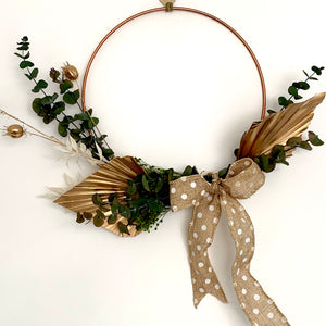 dried flower palm spear hoop