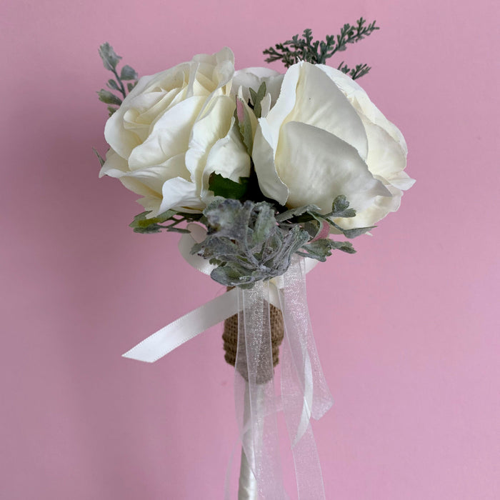 ivory rose flower girl wand