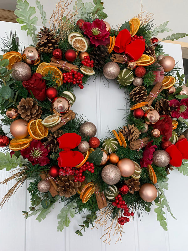 dried fruit red ribbon christmas wreath