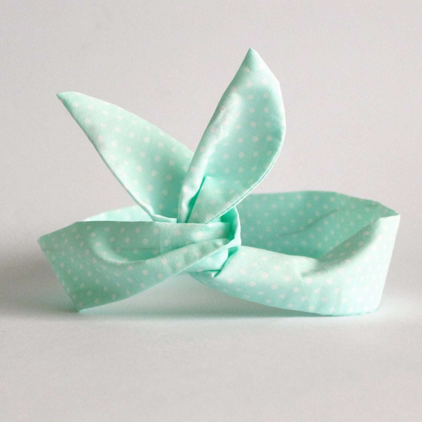 mint polka dot dolly bow headband
