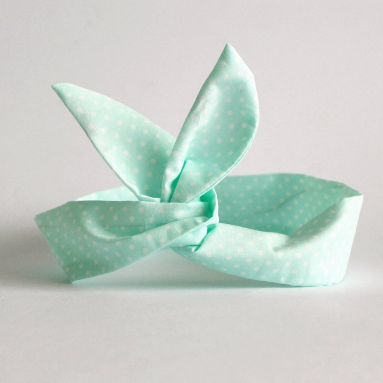 Mint Polkadot Dolly Bow