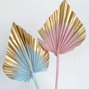 pastel and gold palm spears cake topper