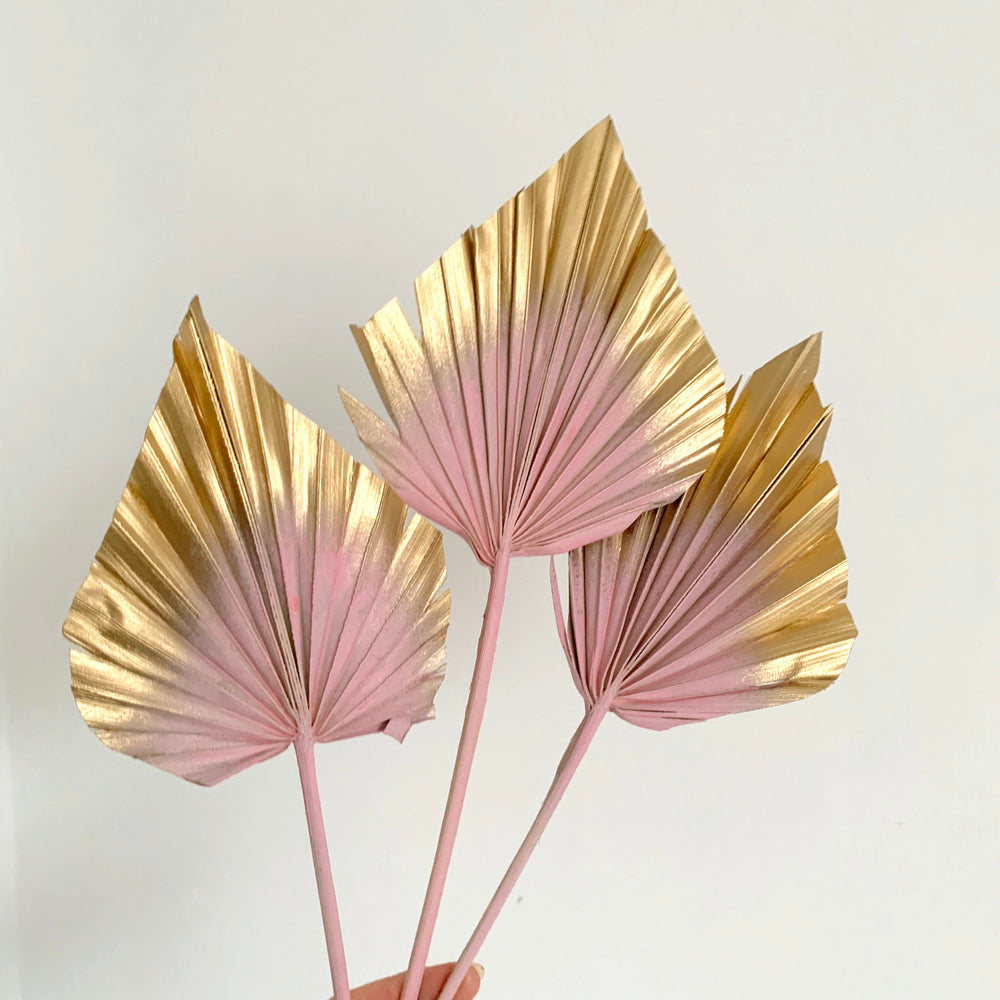 pastel pink and gold palm spears