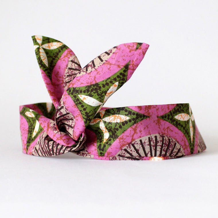 Pink Geo Print Dolly Bow