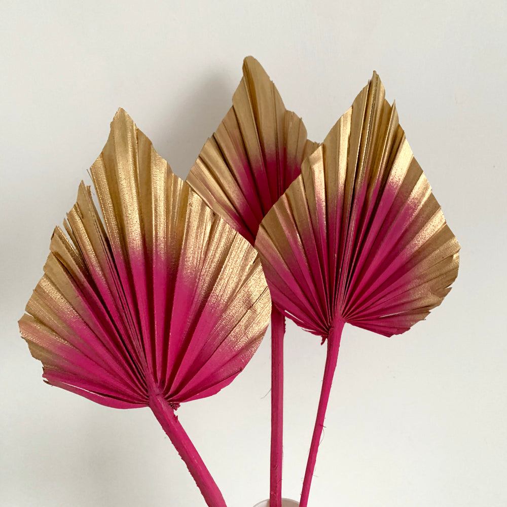 Load image into Gallery viewer, hot pink and gold palm spears cake topper