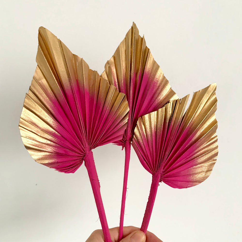 hot pink and gold palm spears