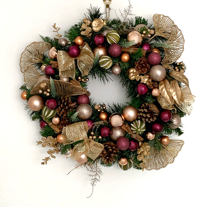 purple copper gold christmas wreath decor