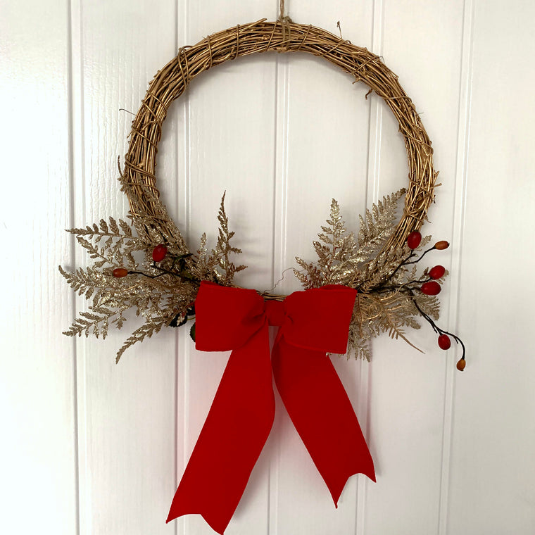 Gold Traditional Christmas Wreath with Red Bow