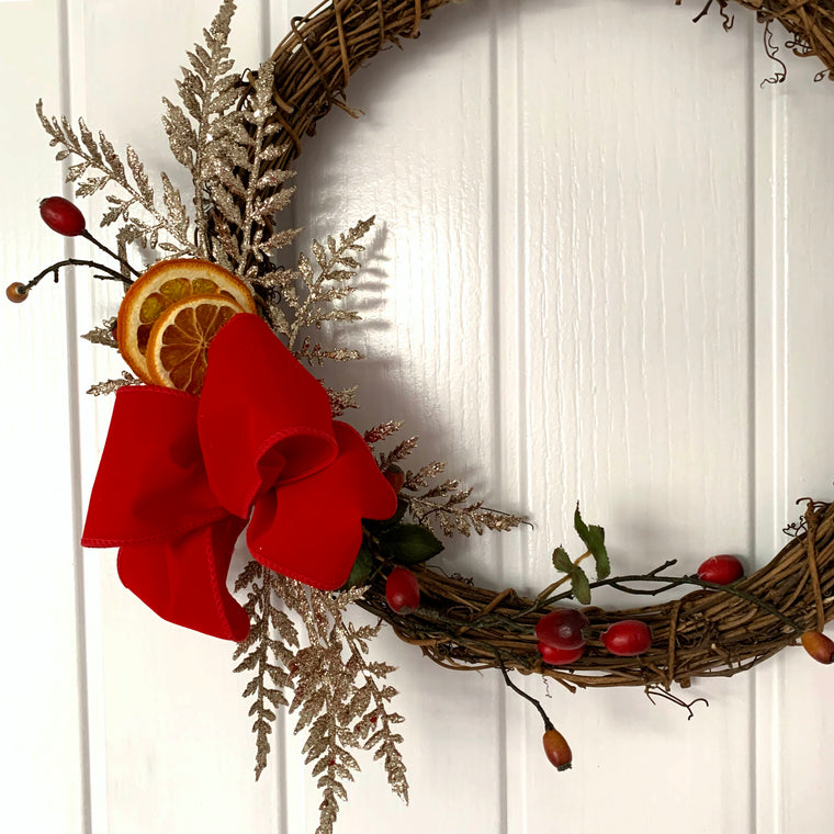 Traditional Christmas Wreath with Red Bow