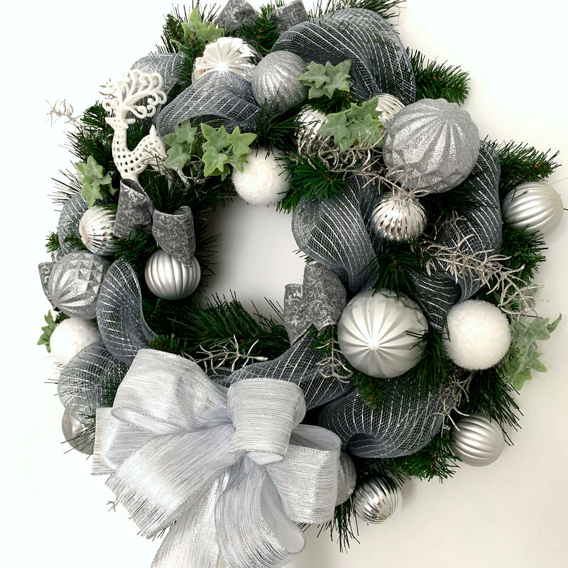 Silver Bauble Christmas Wreath