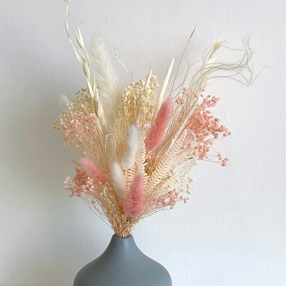 pink dried flower bouquet