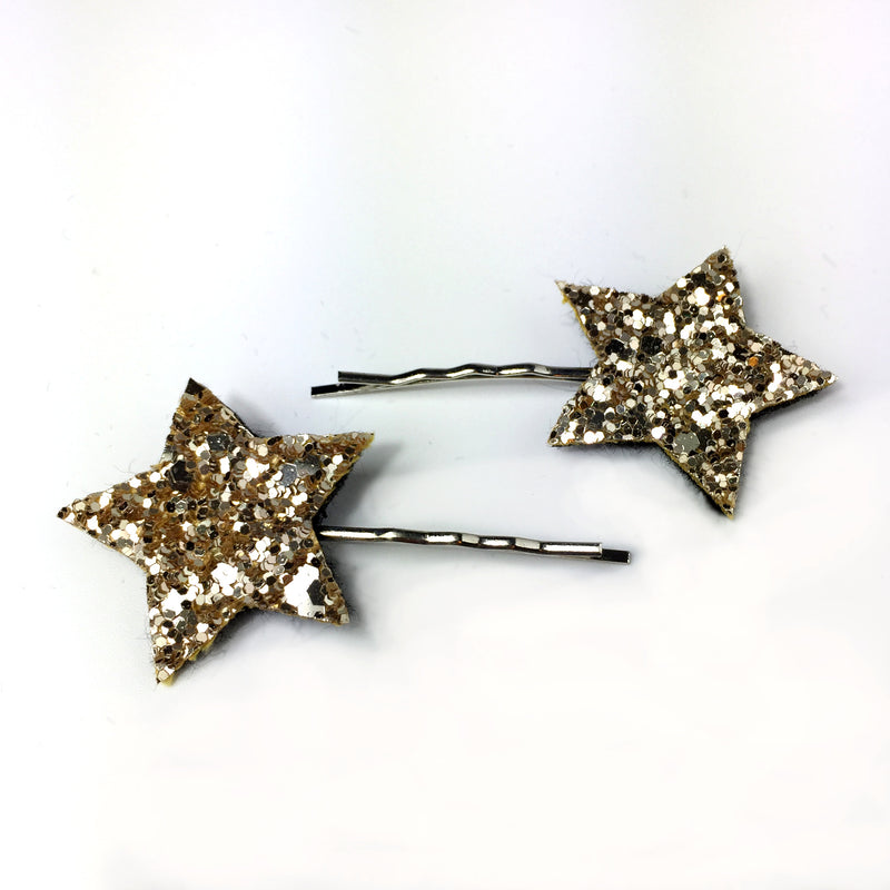 gold glitter star hair clips