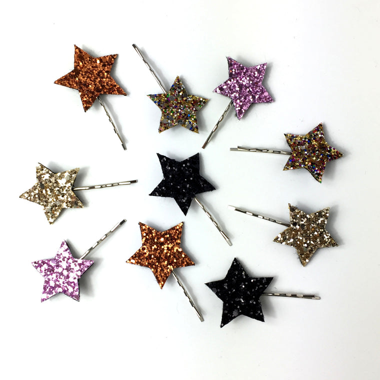 Glitter Star Hair Grips - Pair