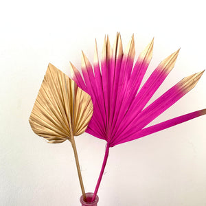 hot pink sun palm gold palm spear cake topper dried flowers