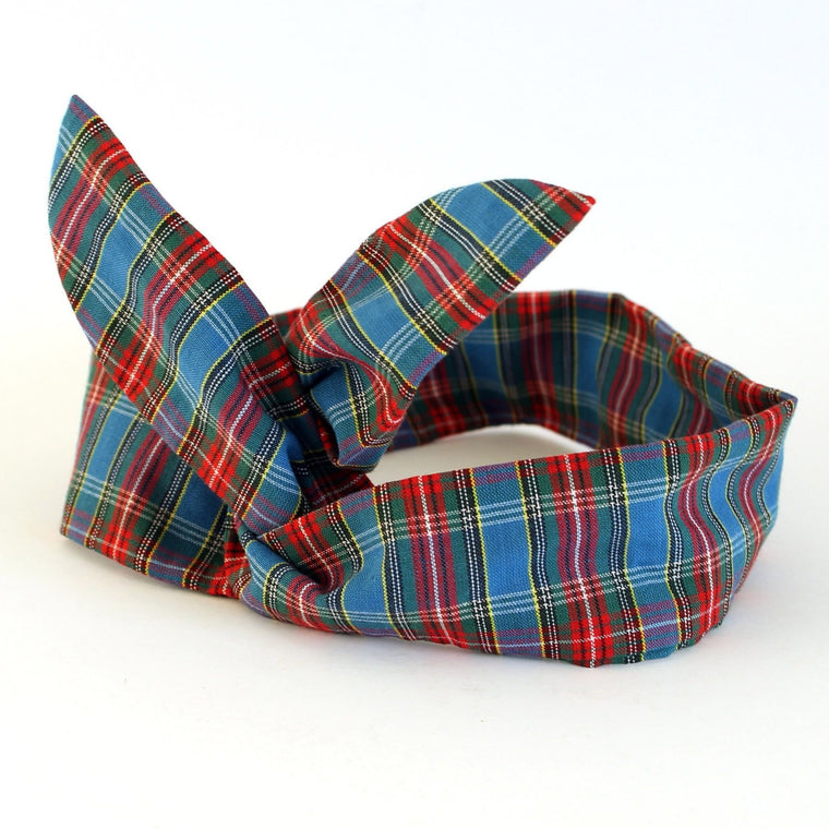 Blue Tartan Dolly Bow