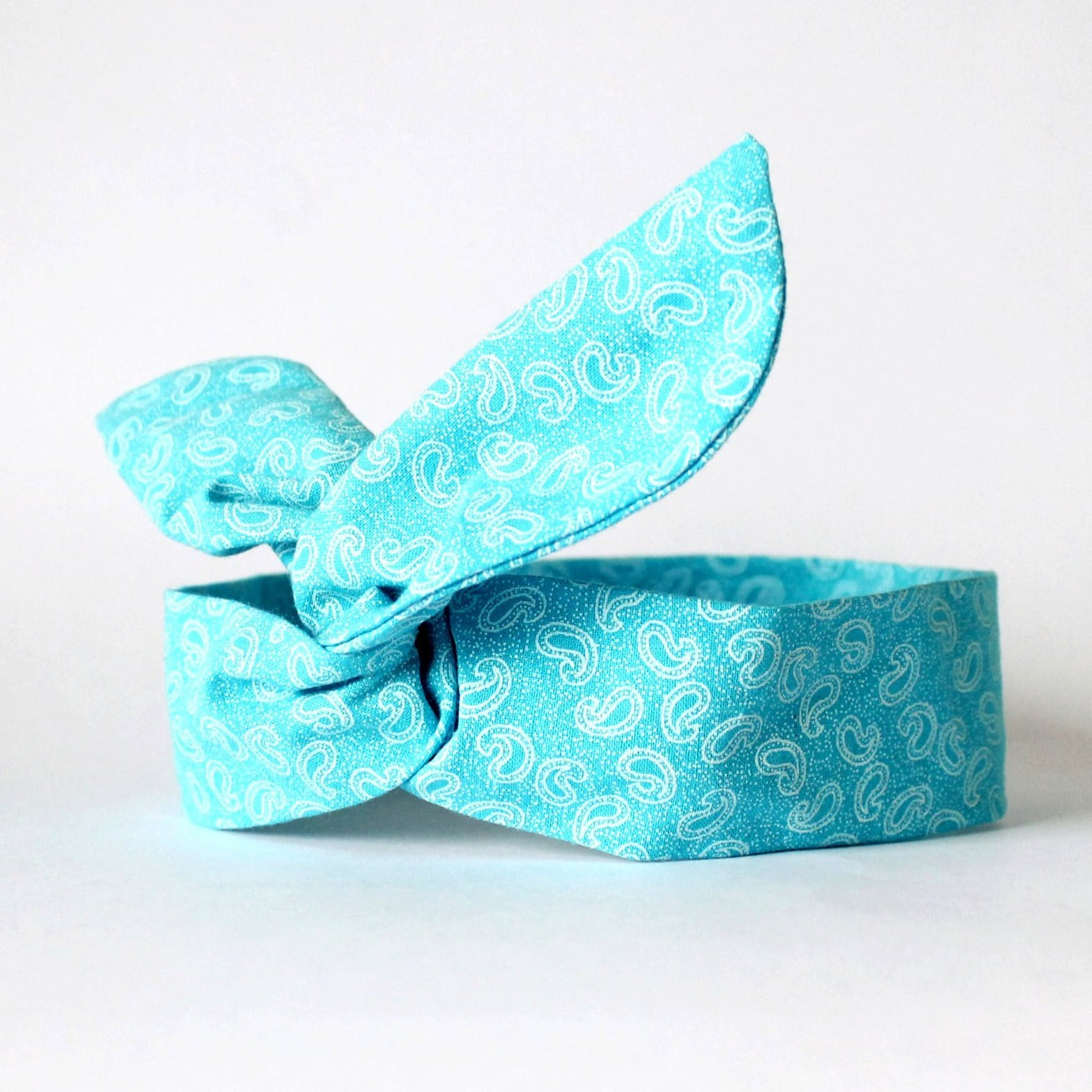 Turquoise Paisley Dolly Bow