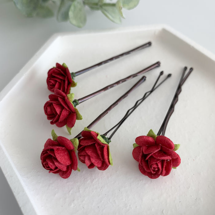 red rose hair grips