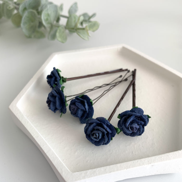 navy blue flower hair grips