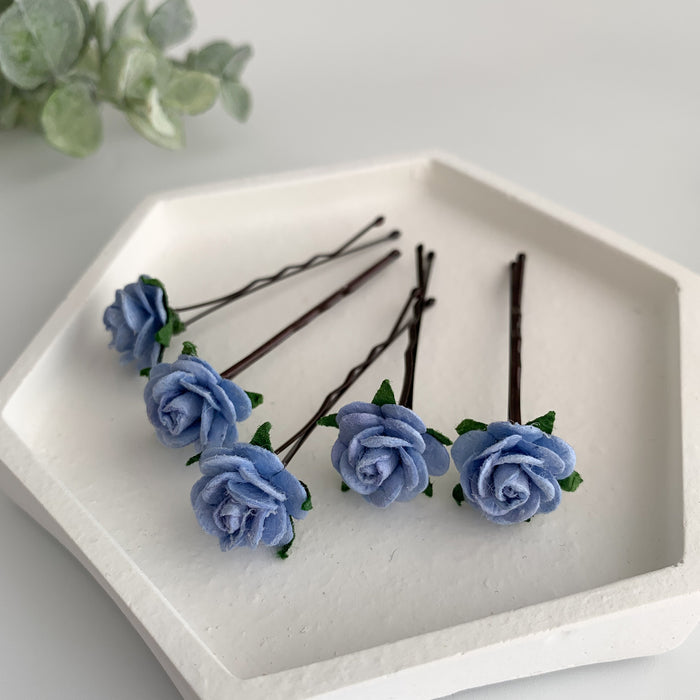 blue rose hair flowers for wedding