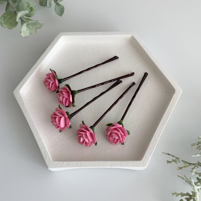 rose pink small flower hair clips