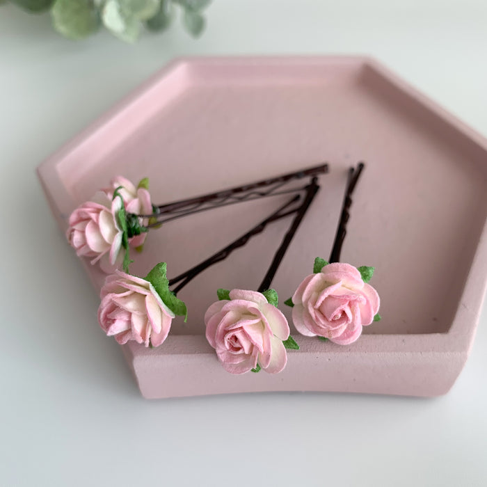 pale pink small rose flower hair clips