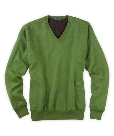 Extra Fine Merino Lined V-Neck Sweater - turtleson