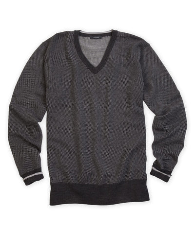 Italian Merino Birdseye V-Neck Sweater - turtleson