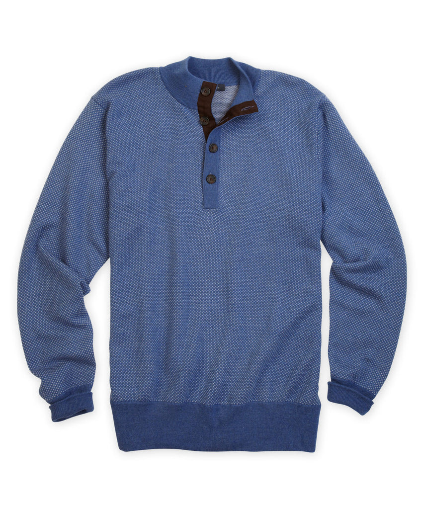 Italian Merino Birdseye Henley Sweater - turtleson