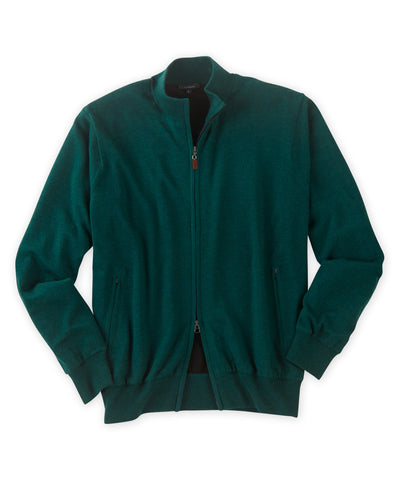Italian Merino Wool Lined Full-Zip Sweater - turtleson