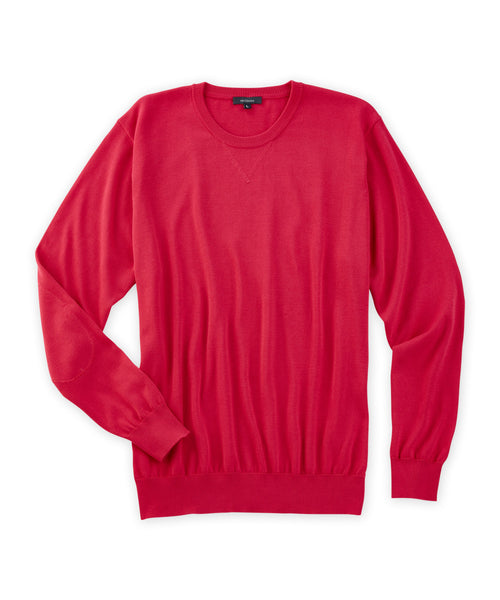 Pima Crewneck Sweater With Self-Fabric Elbow Patches - turtleson