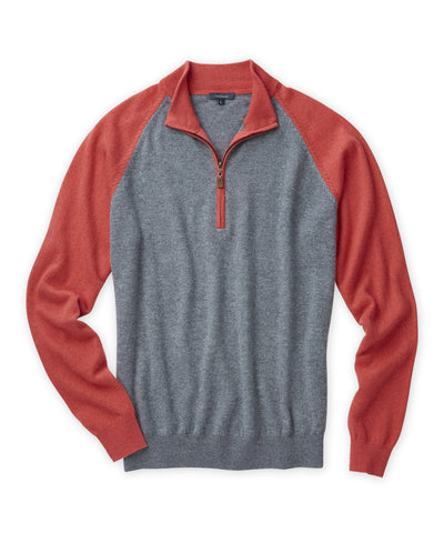Cashmere Baseball Quarter-Zip Sweater - turtleson