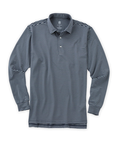 Plato Stripe Pique Long Sleeve Performance Polo - turtleson