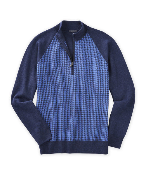 Merino Houndstooth Quarter-Zip Sweater - turtleson
