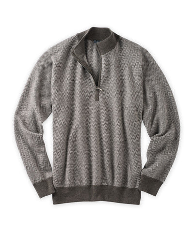 Merino Herringbone Quarter-Zip Sweater - turtleson