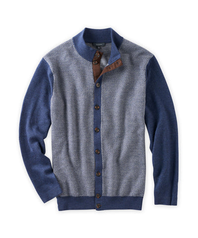 Spike Merino Herringbone Cardigan Sweater - turtleson