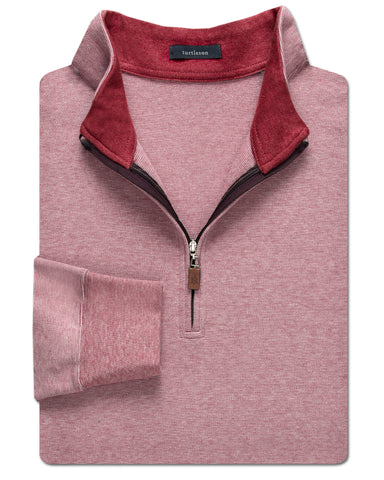 Heathered Interlock Quarter-Zip Pullover