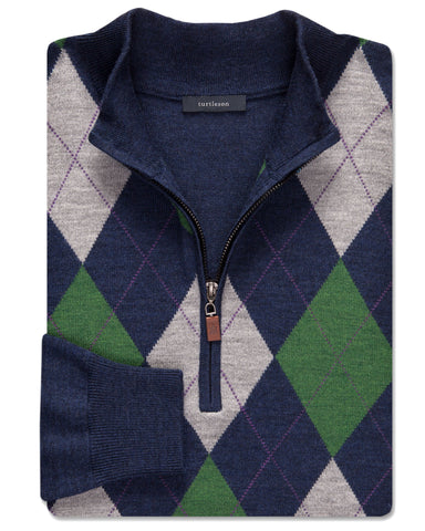 Plato Argyle Quarter-Zip Sweater - turtleson