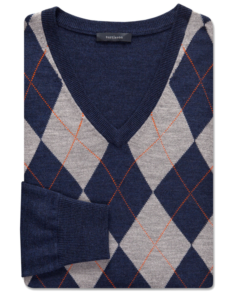 Chester Argyle Merino V-Neck Sweater - turtleson