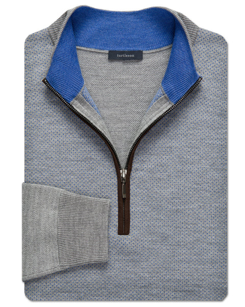 Merino Birdseye Quarter-Zip Sweater - turtleson