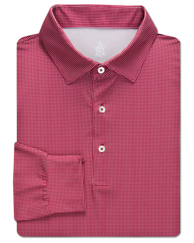 Houndstooth Performance Polo, Long Sleeve - turtleson