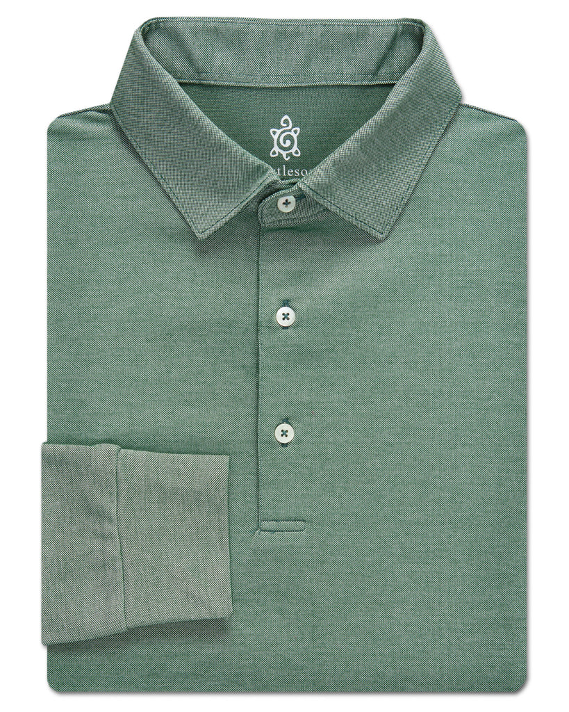 Plaited Cotton Oxford Pique Solid, Long Sleeve - turtleson