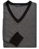 J. Chris Herringbone V-Neck Sweater - turtleson