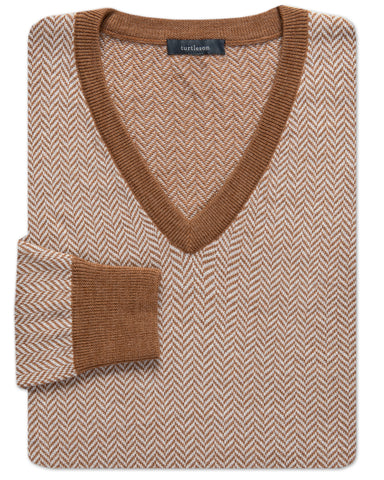 J. Chris Herringbone V-Neck Sweater